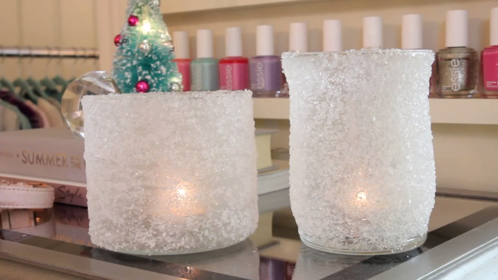 DIY frosted votives in two ways