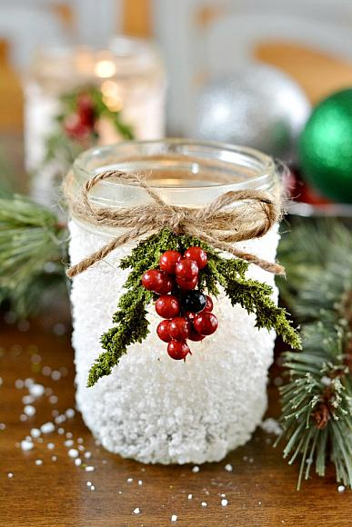 DIY snowy mason jar votive (via masonjarcraftslove.com)