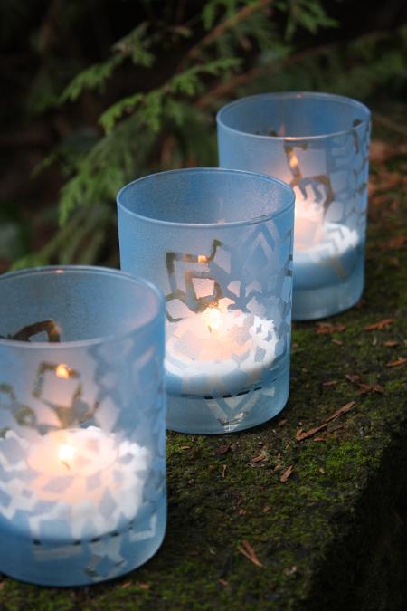 DIY snowflake tealight votive (via thinkcrafts.com)
