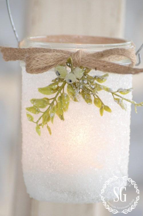 DIY frosty mason jar lanterns (via www.stonegableblog.com)