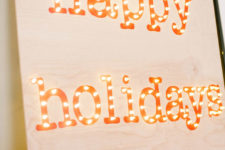 DIY Happy Holidays marquee sign
