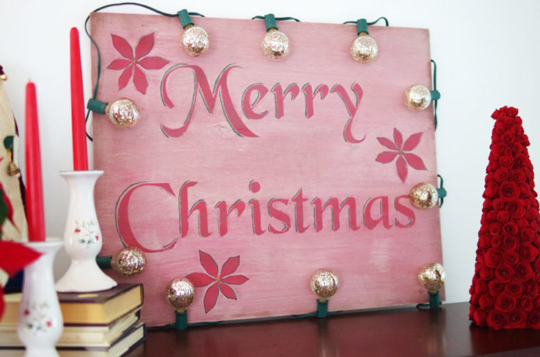 DIY vintage Christmas sign with vintage lights (via createandbabble.com)