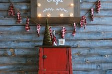 DIY Christmas marquee sign with sheer ornaments