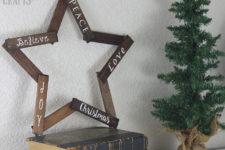 DIY wooden star Christmas wreath