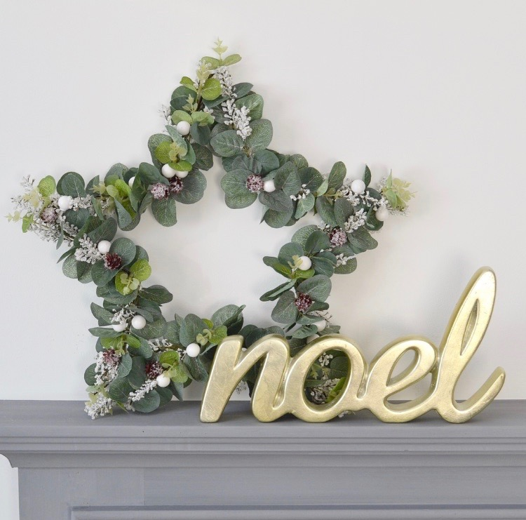DIY wire eucalyptus star wreath