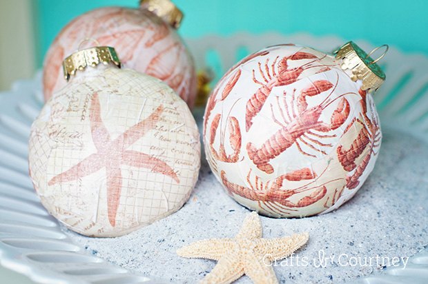 DIY coastal decoupage ornaments