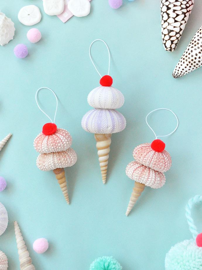 DIY shell ice cream ornaments