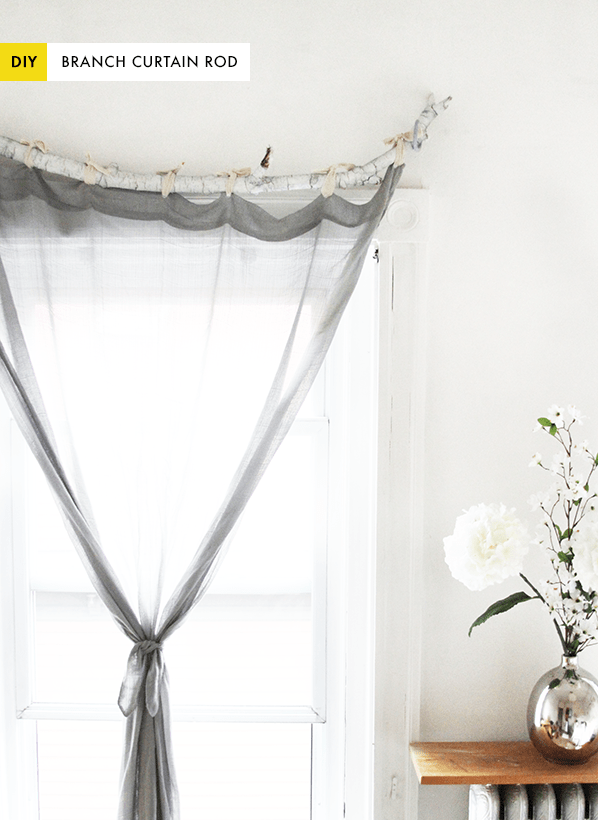 DIY curved tree branch curtain rod (via www.thekipiblog.com)