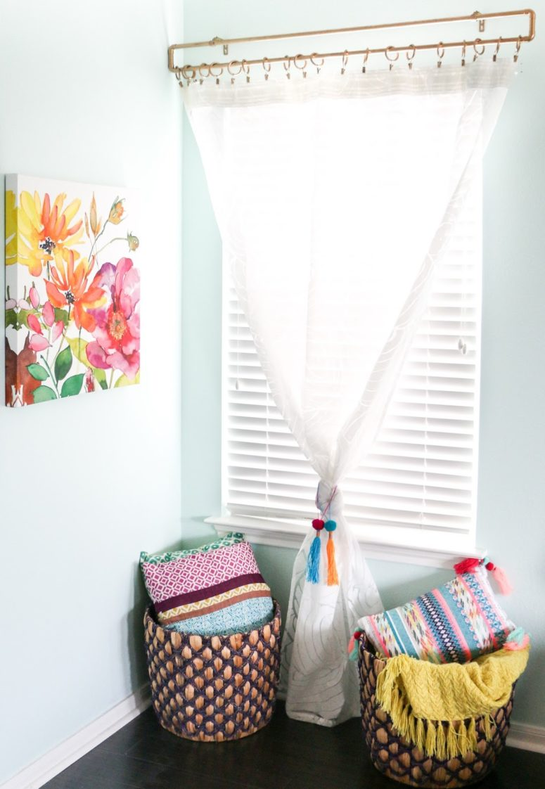 DIY gold frame curtain rod (via www.akailochiclife.com)
