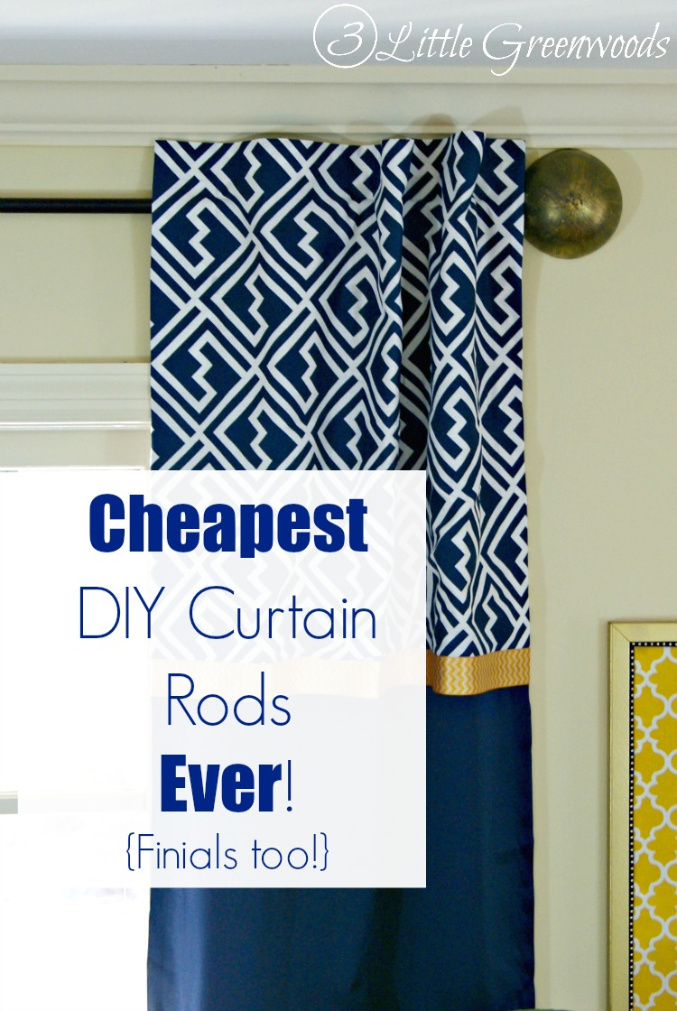 DIY cheapest curtain rods with finials (via www.3littlegreenwoods.com)