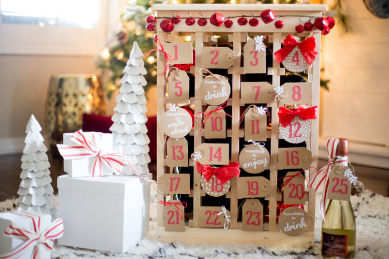 DIY glam wine bottle crate calendar (via www.worldmarket.com)
