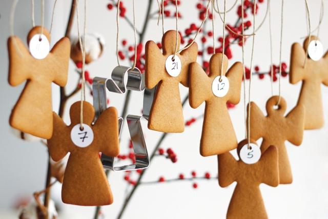 DIY gingerbread angel cookies calendar (via www.bobthechef.com)