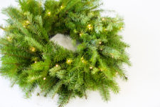 DIY lit up evergreen wreath