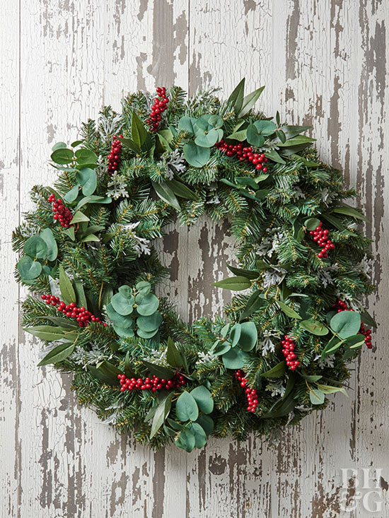 DIY evergreen wreath with a twist (via www.bhg.com)