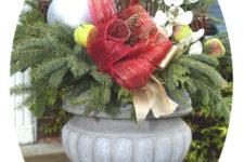 DIY evergreen Christmas urn arrangement