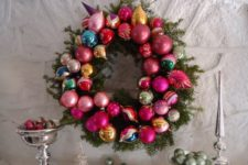 DIY evergreen wreath with ornaments