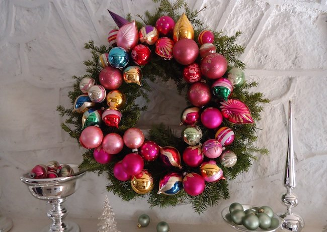DIY evergreen wreath with ornaments (via www.bobvila.com)