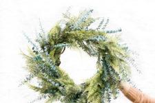 DIY mixed evergreens wreath