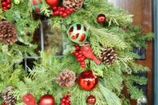 DIY traditional Christmas wreath with ornaments