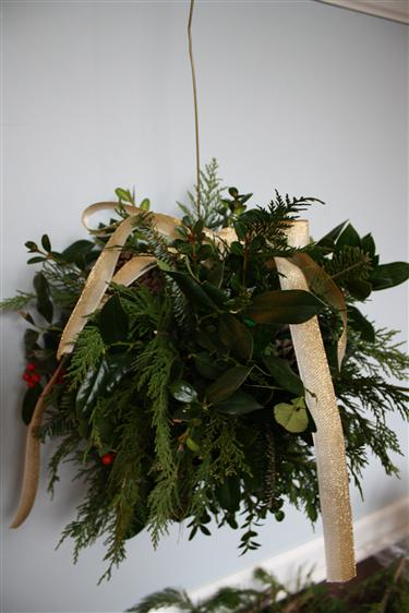 DIY fresh evergreen kissing ball (via www.viewalongtheway.com)