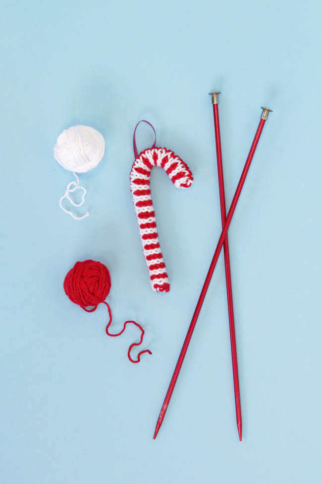 DIY knitted candy cane ornament