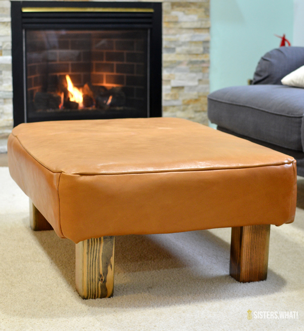 DIY leather upholstered ottoman