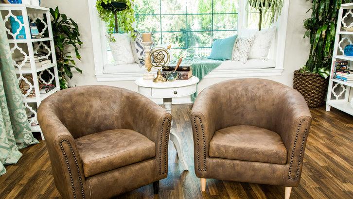DIY faux leather chairs with nail trim (via www.hallmarkchannel.com)