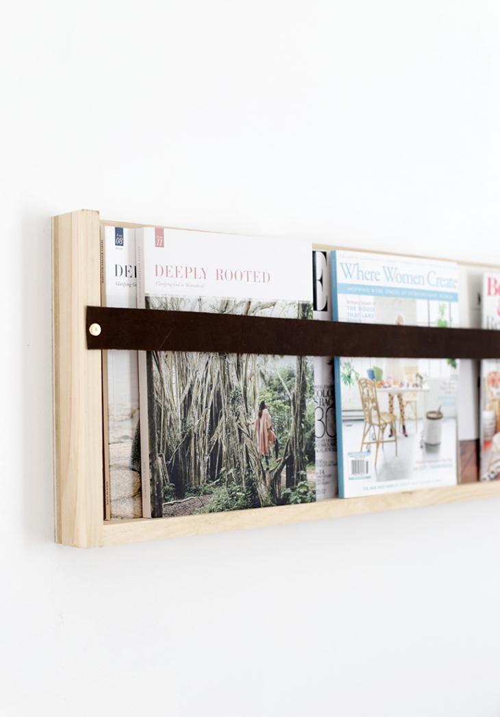 DIY plywood leather magazine rack