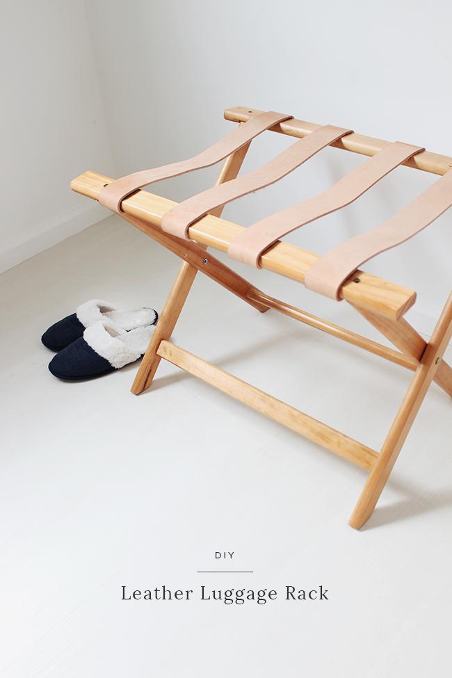 DIY leather luggage rack