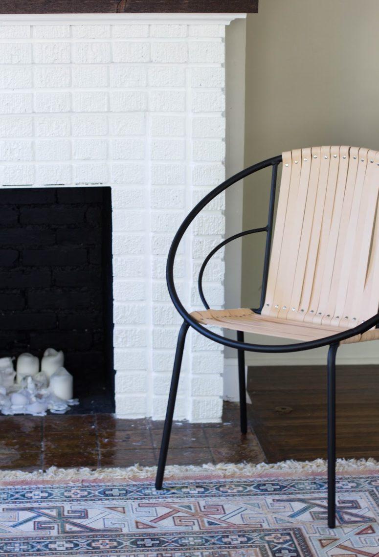 DIY leather Acapulco chair (via www.alwaysrooney.com)