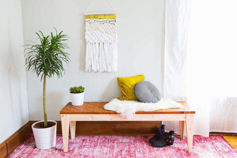 DIY woven leather bench (via abeautifulmess.com)