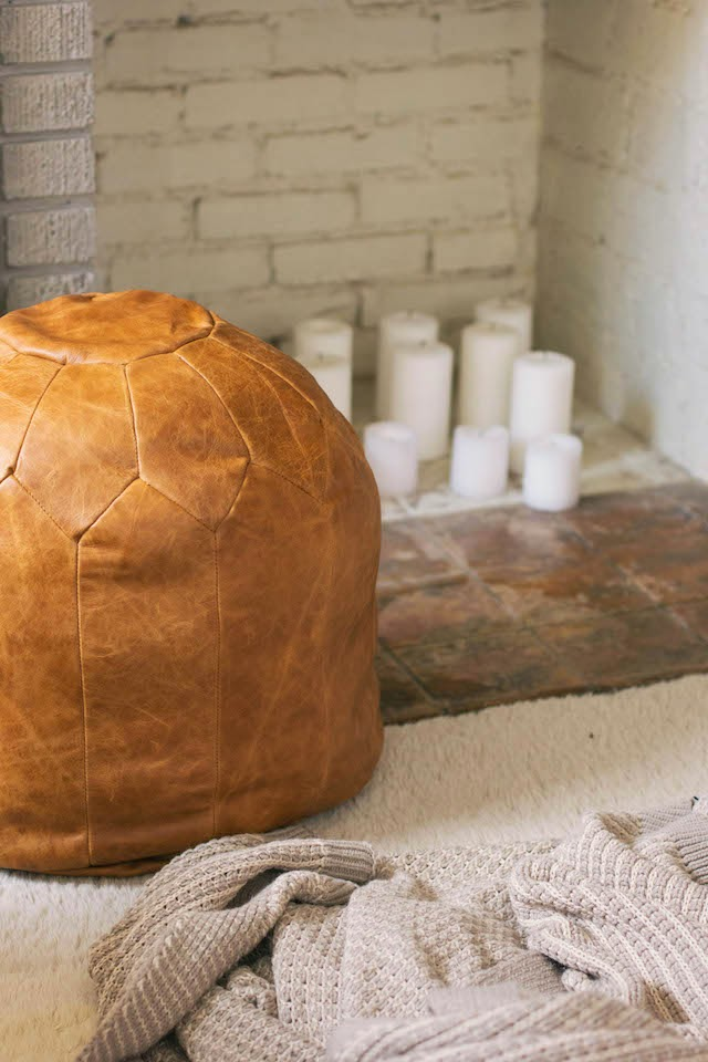 DIY Moroccan leather pouf