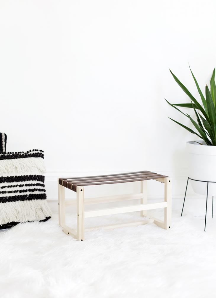 DIY leather footstool