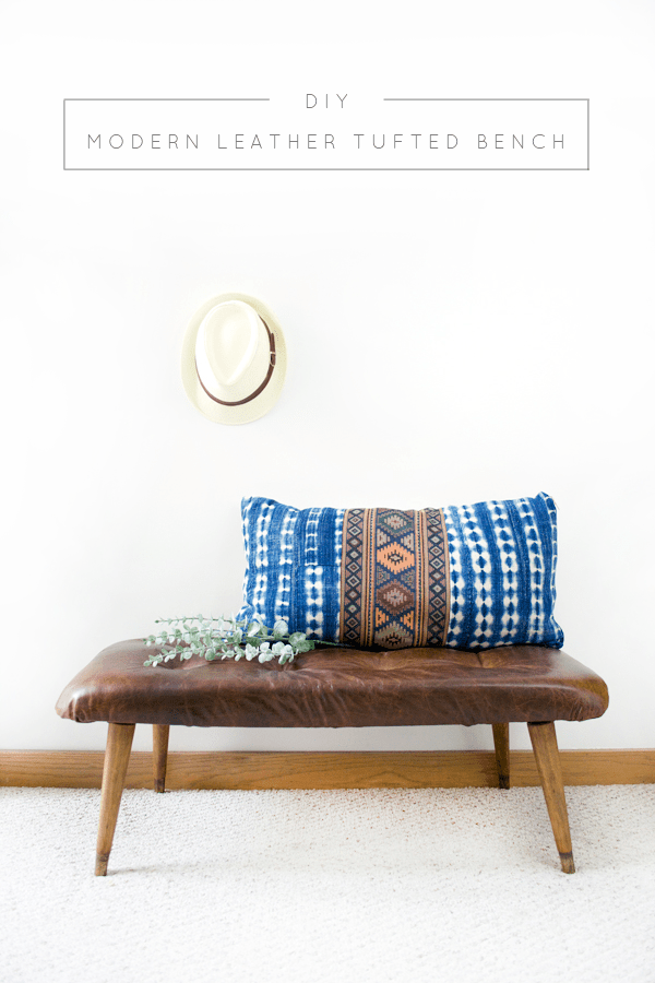 DIY leather tufted bench (via brepurposed.porch.com)
