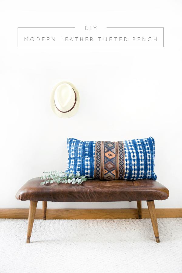 DIY leather tufted bench (via brepurposed.porch.com)