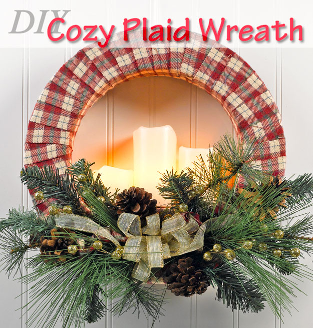 DIY lit up candle wreath with plaid fabric (via craftsncoffee.com)