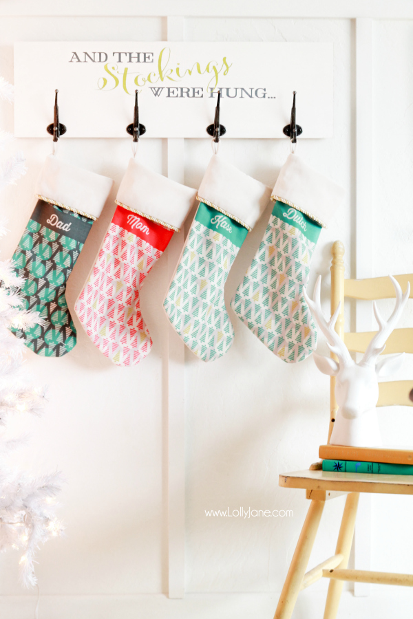 DIY lettered Christmas stocking hanger (via lollyjane.com)