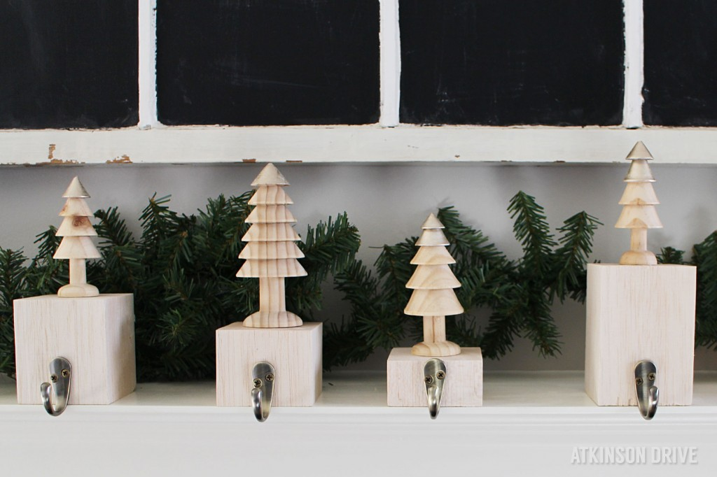 DIY wooden block and Christmas tree stocking holders