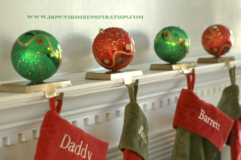 DIY stocking holders with ornaments