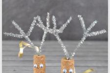 DIY cork reindeer ornaments