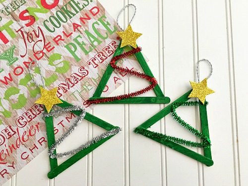 DIY popsicle sticks and pipe cleaners ornaments