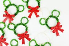 DIY Mickey Mouse wreath ornaments
