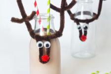 DIY Christmas reindeer bottle toppers