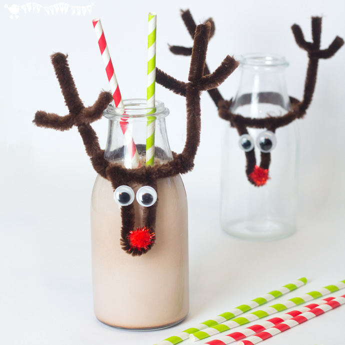 DIY Christmas reindeer bottle toppers (via kidscraftroom.com)