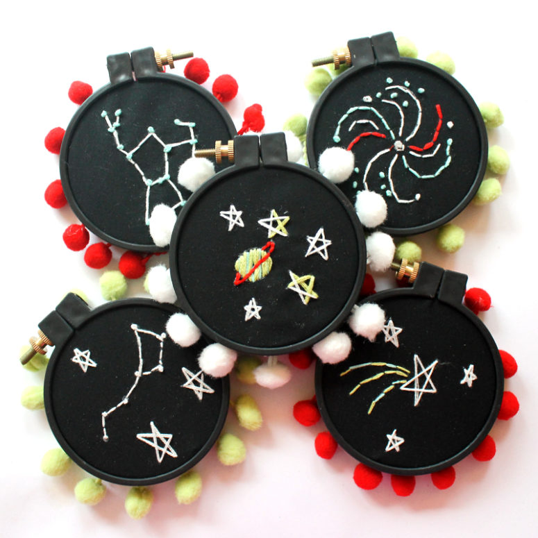 DIY mini constellation hoops with pompoms (via www.punkprojects.com)