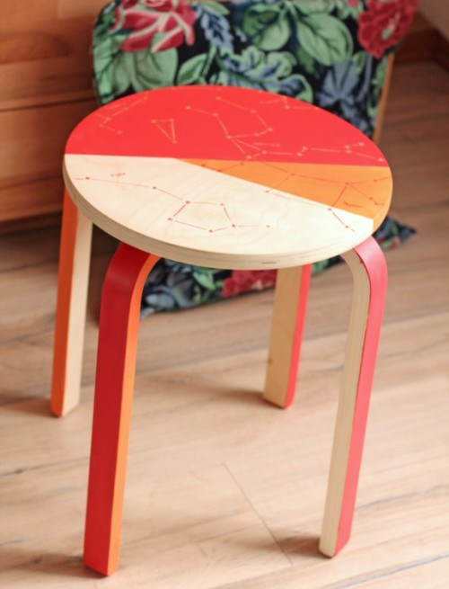 DIY colorful constellation side tables (via www.shelterness.com)