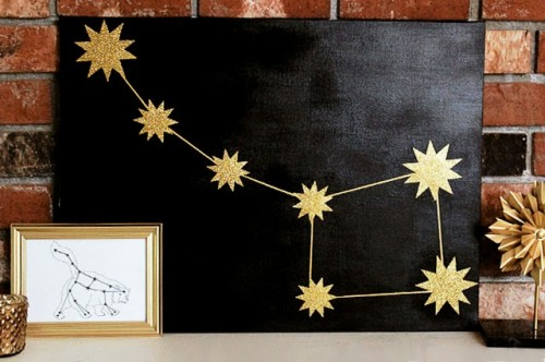 DIY black and gold constellation art piece (via www.shelterness.com)