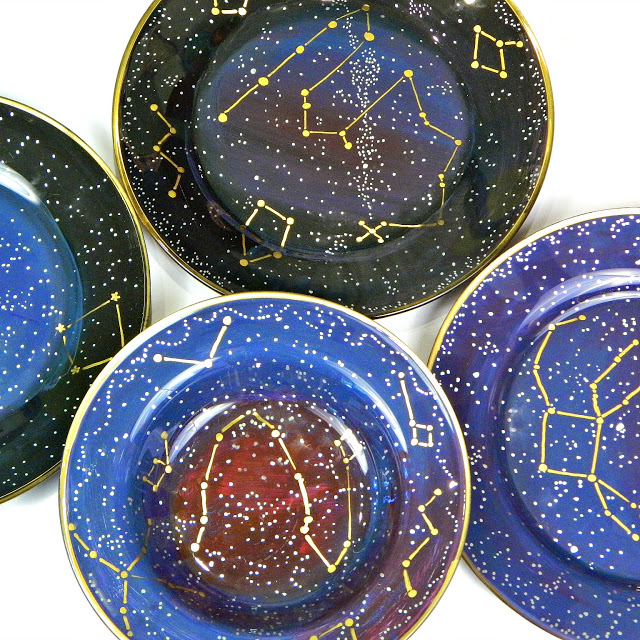 DIY bold constellation glass plates (via www.markmontano.com)