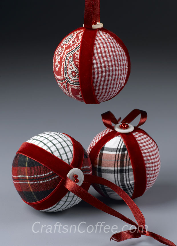 DIY plaid Christmas ornaments of old shirts