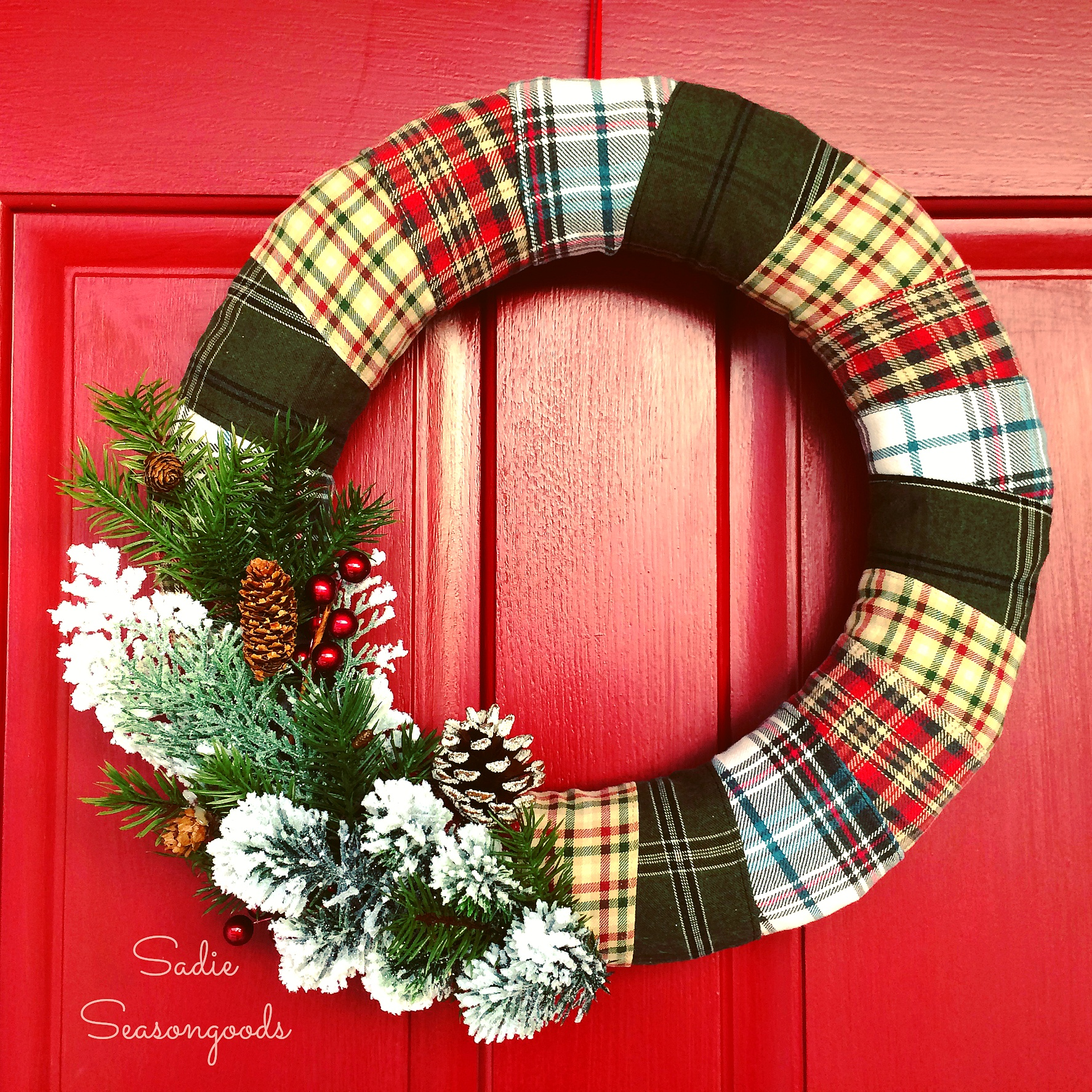 DIY flannel wrapped wreath with evergreens